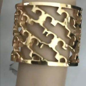TORY BURCH NWT PERFORATED LOGO RING SIZE 5 16K PL